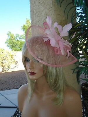 pink Kentucky derby ascot formal dress fancy feather wedding church cocktail