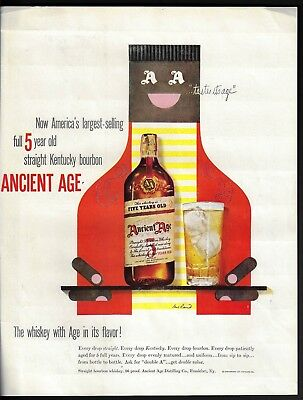 1949 Paul Rand Art Large Ancient Age Bottle Print Ad