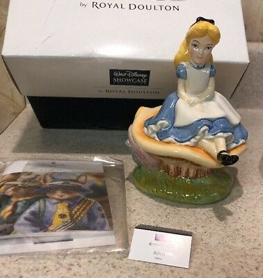 Royal Doulton Alice In Wonderland Porcelain Figurine Sitting In Mushroom
