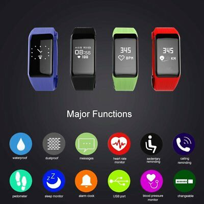 Fitness Tracker Smart Watch Bracelet Heart Rate Blood Pressure Monitor Pedometer