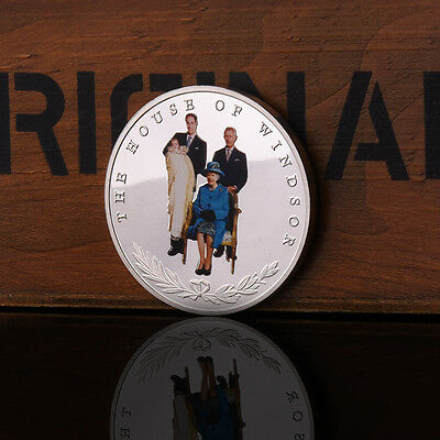 Retro 4 Generations Of British Royal Family Commemorative Coins Collectio Gift