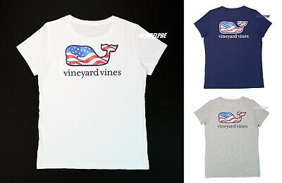 "NWT Vineyard Vines Women SS Graphic Pocket Crew TEE ""WAVING FLAG WHALES"" EDITION"