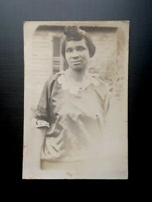 Antique African American Lovely Woman Pretty Hairstyle Old Photo Black Americana