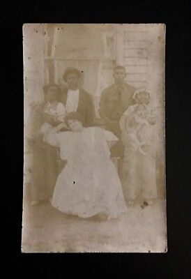 Antique African American Beautiful Large Woman Family Dogs RPPC Black Americana