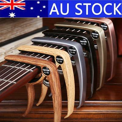 AU!  Quick Change Grain Clamp Key Capo Wood For Acoustic Electric Guitar Bass