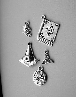 Wiccan Pagan Charms Set of 5, Tibetan Silver, Spell book, Hat, Triquetra, Tree