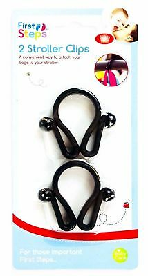 First Steps Pack Of 2 Large Bag Clips Pushchair, Buggy, Pram Stroller Handle