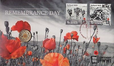 Australia 2015 Remembrance Day PNC - RAM $2 Orange Coin L/E 863/1111 Red Foil PM