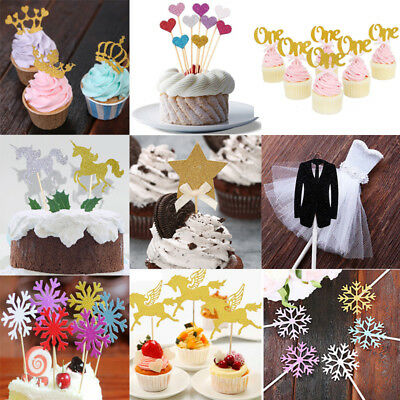 Snowflake Crown Birthday Cupcake Toppers Party Baby Shower Wedding Cake Decor