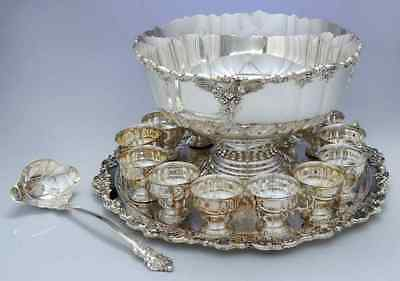 Beautiful Wallace Baroque Silverplate Punch bowl Set 12 Cups Platter& Ladle !