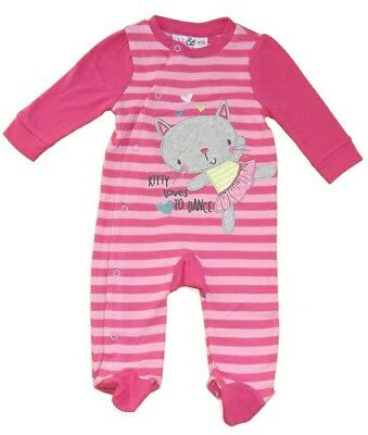 Baby Girls Sleepsuit All in one Babygrow Playsuit Pink Striped Kitty Lily & Jack
