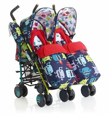 Cosatto Supa Dupa Twin Stroller Cuddle Monster 2 - Blue