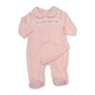 Baby Girls Sleepsuit All in one Babygrow Playsuit Pink Pretty Kitty Rock a Bye