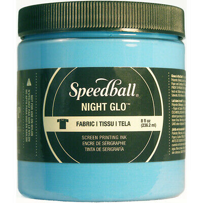 Speedball Art Products Night Glo Fabric Screen Printing Ink 8oz-Blue
