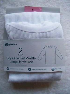 BNWT Boy's 2 Pack White Waffle Knit Thermal Long Sleeve Singlet Size 3, 4, 6 & 8