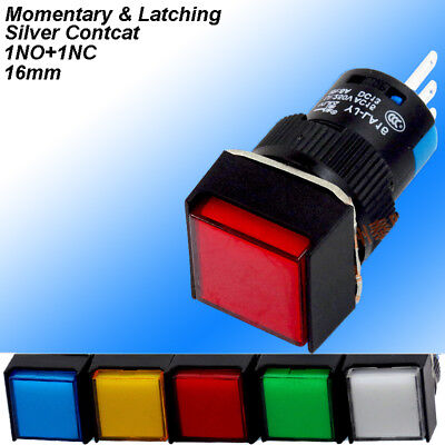 Square Colour On/off Momentary/Latching Push Button Switch NO+NC 6A/250V 16mm
