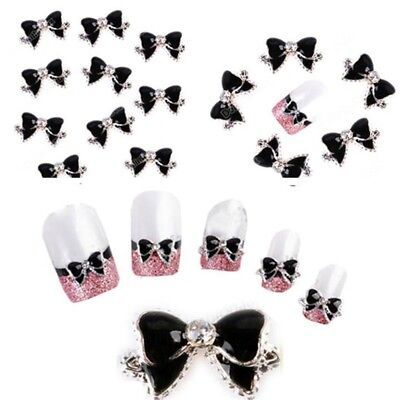 Chic 10Pcs 3D Nail Art Sticker Glitter Decoration Alloy Bow Shiny Charm Nail Art