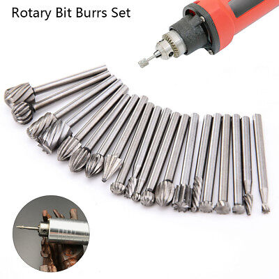 20 x HSS Tête Carbure Fraises Rotary Drill Die Grinder Sculpture Multi Outil