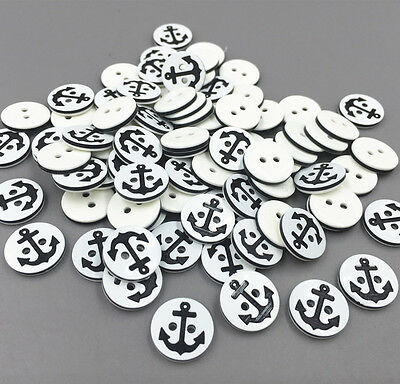DIY 100X Resin Round Buttons Anchors Pattern Fit Sewing Scrapbooking Crafts 13mm