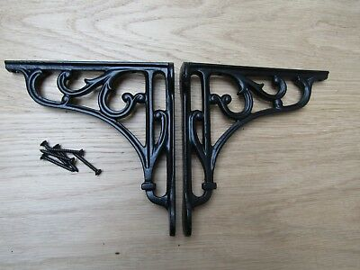 "5"" PAIR OF BLACK VICTORIAN SCROLL  cast iron ornate shelf support wall brackets"