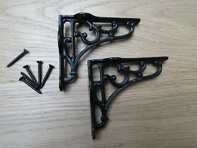"4"" PAIR OF BLACK VICTORIAN SCROLL  cast iron ornate shelf support wall brackets"