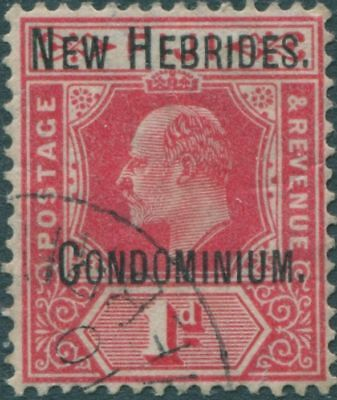 New Hebrides 1908 SG2 1d red KEVII Condominium. ovpt FU