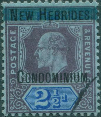 New Hebrides 1908 SG6 2½d dull purple and blue/blue KEVII Condominium. ovpt FU