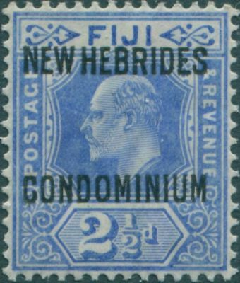 New Hebrides 1910 SG13 2½d bright blue KEVII CONDOMINIUM ovpt MH