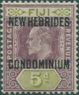 New Hebrides 1910 SG14 5d dull purple and olive-green KEVII CONDOMINIUM ovpt MH