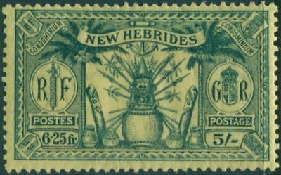 New Hebrides 1925 SG51 5s 6f.25 green on yellow Weapons Idols MH
