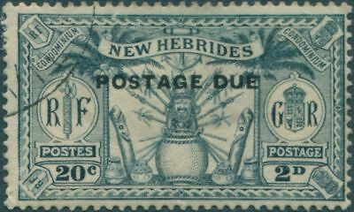 New Hebrides Dues 1925 SGD2 2d 20c slate-grey Weapons Idols FU