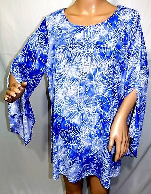 be4b9a2813752 Cocomo Woman Plus Size 1x 2x 3x Blue White Floral Tie Dye Tunic Top Blouse  Shirt