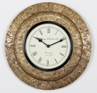 """Antique Vintage Hand Made Ethnic Wooden Brass Finish 12"""" Wall Clock-005"""