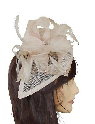 beige fascinator Kentucky derby ascot wedding church fancy dress formal feather