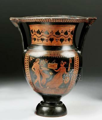 Greek Apulian Pottery Column Krater Lot 24