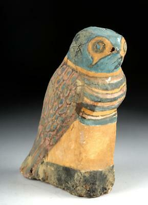 Colorful Egyptian Painted Wooden Horus Bird Lot 9