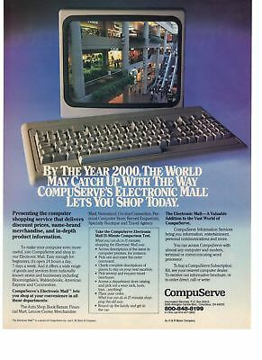 1985 Compuserve Electronic Mall Computer Shopping Service Vintage Print Ad