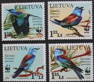 WWF birds stamps, 2008, Lithuania, 4 stamp set, wildlife, Mint, never hinged