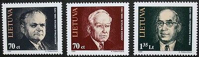 Birth centenaries stamps, 1999, Lithuania, SG ref: 695-697, 3 stamp set, MNH