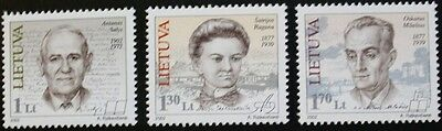 Birth anniversaries stamps, 2002, Lithuania, SG ref: 778-780, 3 stamp set, MNH