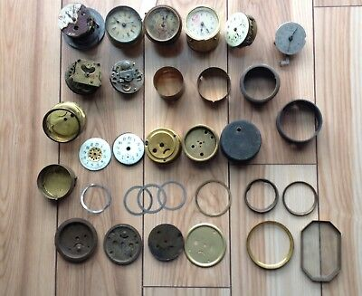 LOT OF VINTAGE ANSONIA and OTHER MAKES ALARM CLOCK MOVEMENT CASES PARTS REPAIR