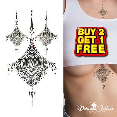 Mandala Temporary Tattoos, Jewels, Black, Sternum, Underboob, Hand, Womens, Kids