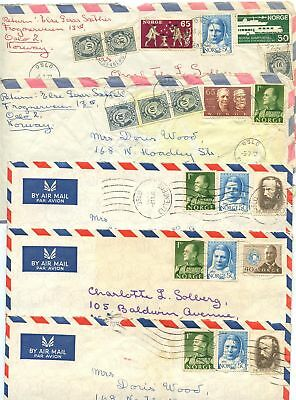 Norway 1970's 5 Airmail Covers Oslo to U.S., Mix of Stamps & Postmark Types