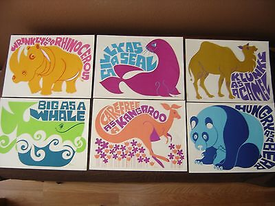 "S. Laxson Childrens Wall Prints From 1960's & 1970""s Lot Of 6"