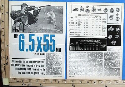 1985 THE 6.5x55MM rifle cartridge 6-Page MAGAZINE ARTICLE by Finn Aagaard 8385