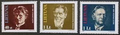 Birth anniversaries stamps, 1996, Lithuania, SG ref: 606-608, 3 stamp set, MNH