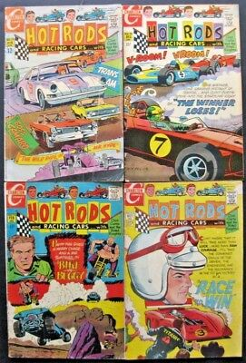 HOT RODS and RACING CARS # 97 99 100 102 104 (LOT OF 5) CHARLTON - JACK KELLER