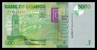 UGANDA 5000 SHILLINGS 2015. PICK 51. SC. UNC (Uncirculated).