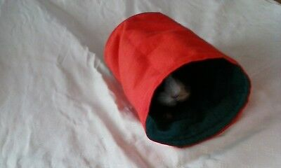 Chucklebunnies Guinea Pig Play Tunnel, recycled fabric reversible bright orange