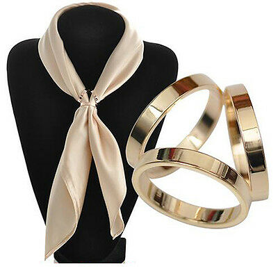 KE_ Fashion Rose Gold Plated Trio Scarf Ring Silk Scarf Buckle Clip Slide Jewe